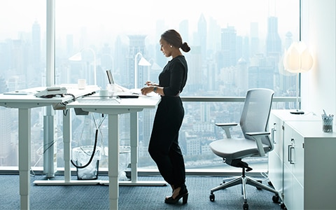 Woman at Standing Desk
